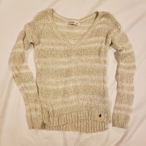 Girls Abercrombie Gold And White Sweater